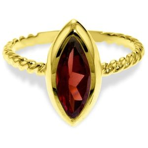 SOLID GOLD RINGS WITH NATURAL MARQUIS GARNET